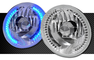 Picture of H4 + Blue LED Halo Headlight Kit